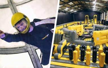 Indoor Skydiving and Inflatable Park Combo Party